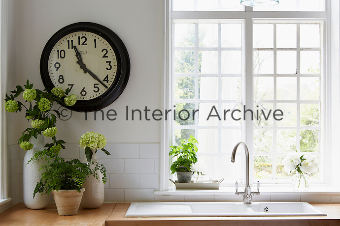 A retro clock by Smith + Co hangs in the corner above cut hydrangeas. A double sink sits in front of a large, bright window.