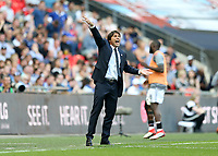 19th May 2018, Wembley Stadium, London, England; FA Cup Final football, Chelsea versus Manchester United; Chelsea Manager Antonio Conte shouting from the touchline for his team to come out of defense