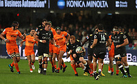 DURBAN, SOUTH AFRICA - JULY 14: Juan Manuel Leguizamon of the Jaguares tackling Philip van der Walt of the Cell C Sharks during the Super Rugby match between Cell C Sharks and Jaguares at Jonsson Kings Park on July 14, 2018 in Durban, South Africa. Photo: Steve Haag / stevehaagsports.com