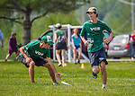 30 May 2015: The Vermont Commons School Flying Turtles play South Burlington High School in a consolation round of the VYUL State Ultimate Disk Championships at Bombardier Park in Milton, Vermont. VCS defeated SB to vie for a possible 5th place finish in the State Championships. Mandatory Credit: Ed Wolfstein Photo *** RAW (NEF) Image File Available ***