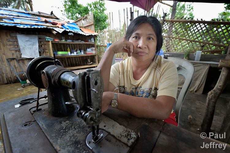 Christina Balitor owns a broken sewing machine in Estancia, in the Philippines province of Iloilo, but doesn't have money to fix it. A survivor of childhood polio, she cannot walk on her own. She washes laundry to earn a meager living. Her wheelchair broke six years before and she has been unable to afford a new one. Her house was washed away by Typhoon Haiyan, known locally as Yolanda, in November 2013. Balitor now lives with her sister.