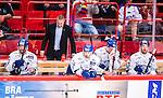 Stockholm 2014-09-17 Ishockey SHL Djurg&aring;rdens IF - Leksands IF :  <br /> Leksands Johan Ryno och assisterande tr&auml;nare Mats B&auml;cklin deppar med lagkamrater i avbytarb&aring;set under matchen<br /> (Foto: Kenta J&ouml;nsson) Nyckelord:  Djurg&aring;rden DIF Hockey Globen Ericsson Globe Arena SHL Leksand LIF depp besviken besvikelse sorg ledsen deppig nedst&auml;md uppgiven sad disappointment disappointed dejected