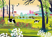 Tranquil rural landscape with cows, houses, trees and flowers ExclusiveImage