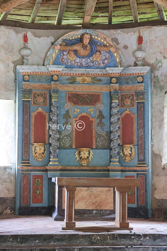 France, Aquitaine, Pyrénées-Atlantiques (64), Jatxou, Chapelle Saint-Sauveur-de-Faldarcon, le retable // France, Aquitaine, Pyrénées-Atlantiques, Jatxou, Chapel Saint-Sauveur-de-Faldarcon, the altarpiece