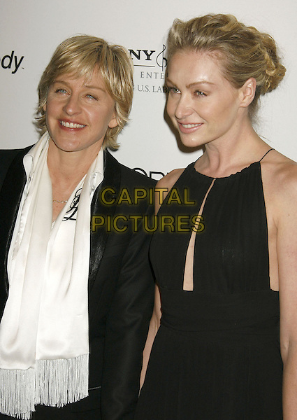 ELLEN DeGENERES & PORTIA DE ROSSI.Clive Davis 2007 Pre-Grammy Awards Party held at the Beverly Hilton Hotel, Beverly Hills, California, USA..February 10th, 2007.half length black dress jacket white scarf couple .CAP/ADM/RE.©Russ Elliot/AdMedia/Capital Pictures
