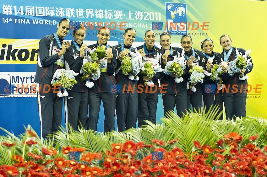 Shanghai ,  (CHN) 16-31 July 2001.XIV FINA Swimming World Championships.day 04.Team Tech.Final..Spain Bronze..Photo Insidefoto / Giorgio Scala