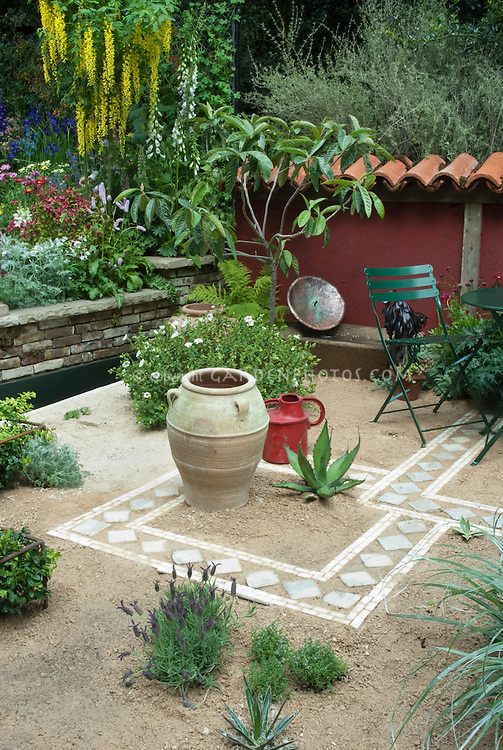 Courtyard Small Space Gardens Stock Photos Images Plant
