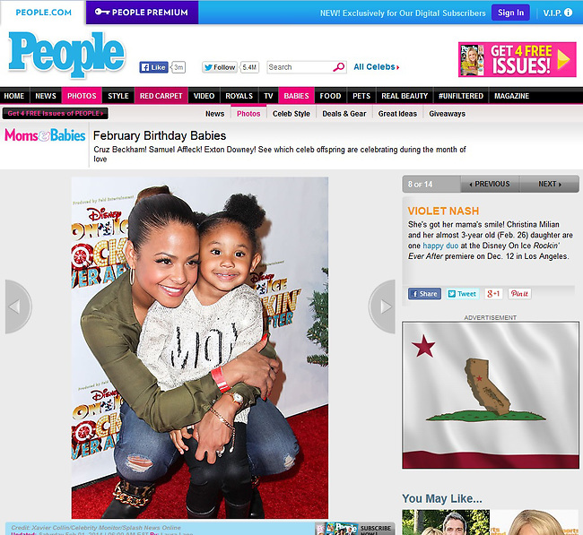 LOS ANGELES, CA - DECEMBER 12: Actress Christina Milian and daughter Violet Madison Nash attend 'Rockin' Ever After' presented by Disney On Ice at Staples Center on December 12, 2013 in Los Angeles, California. (Photo by Xavier Collin/Celebrity Monitor)