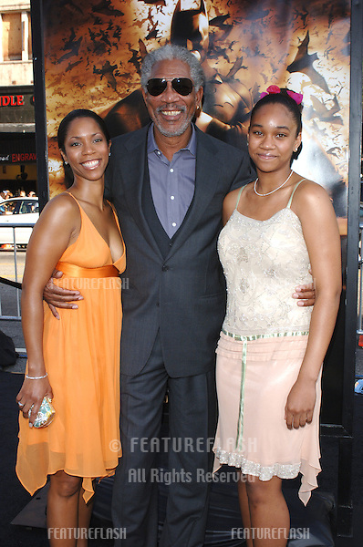 Actor MORGAN FREEMAN & daughter & granddaughter at the Los Angeles premiere of his new movie Batman Begins..June 6, 2005 Los Angeles, CA..© 2005 Paul Smith / Featureflash