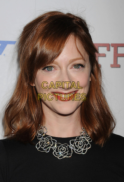 "Judy Greer.arriving at the Los Angeles Premiere of ""Jeff, Who Lives At Home"" at DGA Theater in Los Angeles, California, USA,.March 7th, 2012..portrait headshot silver necklace smiling  black top t-shirt red lipstick .CAP/ROT/TM.©TM/Roth Stock/Capital Pictures"