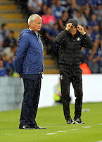 Pictured (L-R): Leicester manager Claudio Ranieri and Francesco Guidolin, Manager of Swansea City  Saturday 27 August 2016<br /> Re: Swansea City FC v Leicester City FC Premier League game at the King Power Stadium, Leicester, England, UK