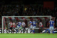 Lukas Jutkiewicz of Birmingham kicks the ball just wide of the Brentford goal during Brentford vs Birmingham City, Sky Bet EFL Championship Football at Griffin Park on 2nd October 2018