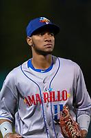 Amarillo Sod Poodles right fielder Edward Olivares (11) jogs off the field between innings of a Texas League game against the Springfield Cardinals on April 25, 2019 at Hammons Field in Springfield, Missouri. Springfield defeated Amarillo 8-0. (Zachary Lucy/Four Seam Images)