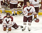 Chris Cobb (BC - 4), Cody King (BC - 10) - The Boston College Eagles defeated the Bryant University Bulldogs 2-1 on Saturday, December 11, 2010, at Conte Forum in Chestnut Hill, Massachusetts.