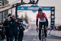 Tiesj Benoot (BEL/Lotto-Soudal) crossing the finish line<br /> <br /> Omloop Het Nieuwsblad 2018<br /> Gent &rsaquo; Meerbeke: 196km (BELGIUM)