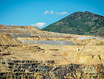 Sides and tailings above the Berkeley Pit open pit copper mine in the city of Butte, Montana