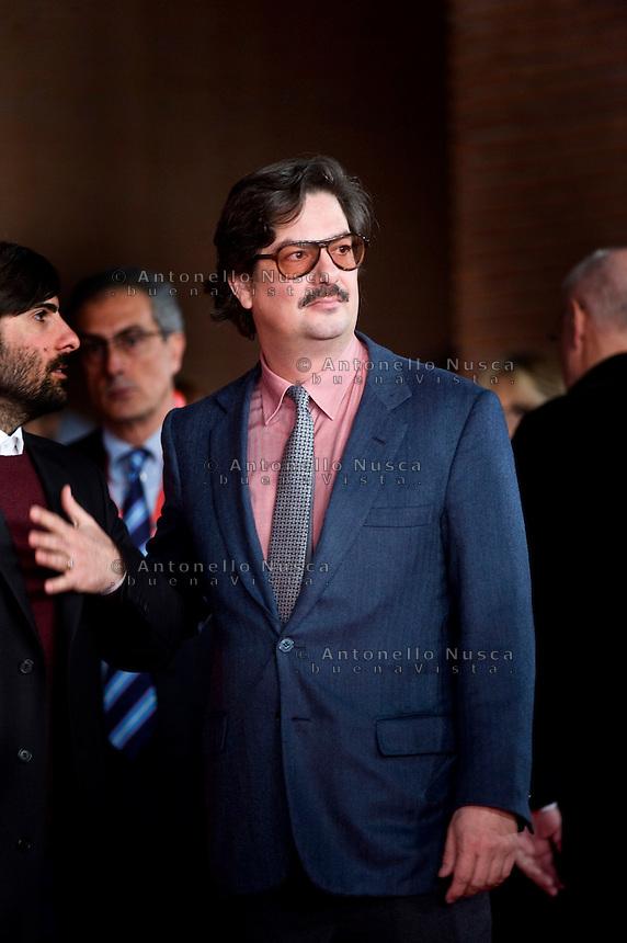 Il regista Roman Coppola al suo arrivo al Festivalk del Cinema di Roma . US film director Roman Coppola poses at the red carpet during the Rome International Film Festival.