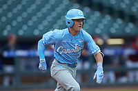 Logan Warmoth (7) of the North Carolina Tar Heels hustles down the first base line against the Boston College Eagles in Game Five of the 2017 ACC Baseball Championship at Louisville Slugger Field on May 25, 2017 in Louisville, Kentucky. The Tar Heels defeated the Eagles 10-0 in a game called after 7 innings by the Mercy Rule. (Brian Westerholt/Four Seam Images)