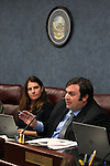 Nevada Assemblywoman Shelly Shelton, R-Las Vegas, and Assemblyman James Ohrenschall, D-Las Vegas, work in committee at the Legislative Building in Carson City, Nev., on Thursday, March 19, 2015.  <br /> Photo by Cathleen Allison