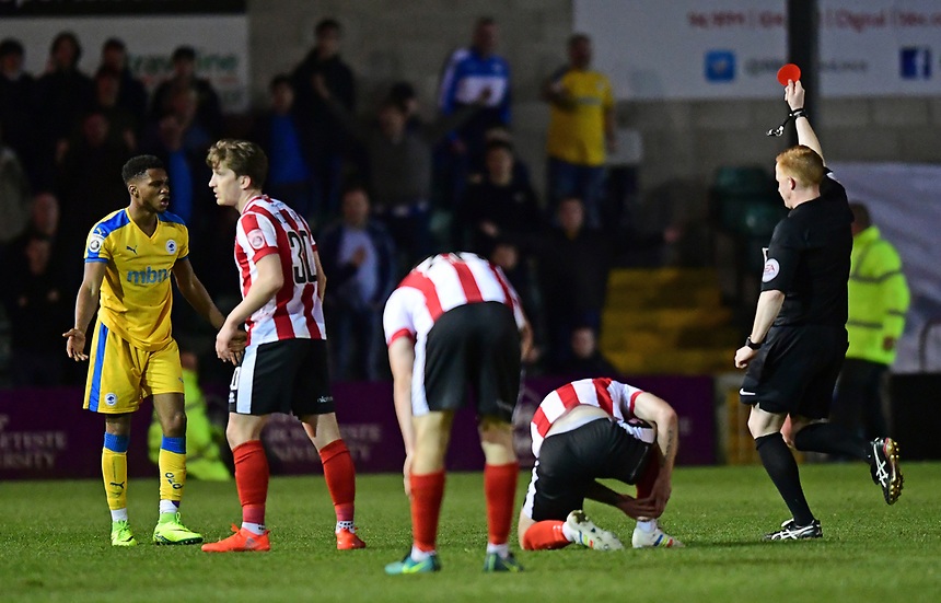 Chester's Kane Richards is shown a red card by referee Alan Young<br /> <br /> Photographer Chris Vaughan/CameraSport<br /> <br /> Vanarama National League - Lincoln City v Chester - Tuesday 11th April 2017 - Sincil Bank - Lincoln<br /> <br /> World Copyright &copy; 2017 CameraSport. All rights reserved. 43 Linden Ave. Countesthorpe. Leicester. England. LE8 5PG - Tel: +44 (0) 116 277 4147 - admin@camerasport.com - www.camerasport.com