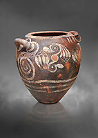 Luxury Minoan Kamares Ware storage pot with handles and polychrome floral decorations , Phaistos 1900-1700 BC; Heraklion Archaeological  Museum, grey background.<br /> <br /> This style of pottery is named afetr Kamares cave where this style of pottery was first found