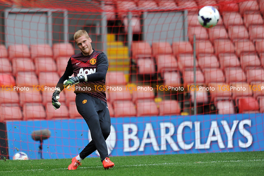 Ben Amos of Manchester United - Liverpool Under-21 vs Manchester United Under-21 - Barclays Under-21 Premier League Football at Anfield, Liverpool - 02/05/14 - MANDATORY CREDIT: Greig Bertram/TGSPHOTO - Self billing applies where appropriate - 0845 094 6026 - contact@tgsphoto.co.uk - NO UNPAID USE