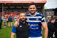 Jameson Mola and Elliott Stooke of Bath Rugby pose for a photo after the match. Gallagher Premiership match, between Leicester Tigers and Bath Rugby on May 18, 2019 at Welford Road in Leicester, England. Photo by: Patrick Khachfe / Onside Images