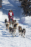 Sigrid Ekran on Long Lake at the Re-Start of the 2012 Iditarod Sled Dog Race