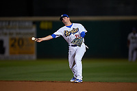 Rancho Cucamonga Quakes second baseman Omar Estevez (21) makes a throw to first base during a California League game against the Lake Elsinore Storm at LoanMart Field on May 19, 2018 in Rancho Cucamonga, California. Lake Elsinore defeated Rancho Cucamonga 10-7. (Zachary Lucy/Four Seam Images)
