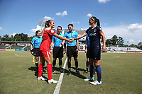Cary, North Carolina  - Saturday August 19, 2017: Shelina Zadorsky and Abby Erceg prior to a regular season National Women's Soccer League (NWSL) match between the North Carolina Courage and the Washington Spirit at Sahlen's Stadium at WakeMed Soccer Park. North Carolina won the game 2-0.