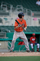 Baltimore Orioles Adam Hall (75) squares around to bunt during a Florida Instructional League game against the Boston Red Sox on September 21, 2018 at JetBlue Park in Fort Myers, Florida.  (Mike Janes/Four Seam Images)