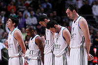 Real Madrid's Carlos Suarez, Dontaye Draper, Nikola Mirotic, Rudy Fernandez and Mirza Begic taxed a minute of silence for the victims of the Madrid Hallowing party the previous day during Euroleague 2012/2013 match.November 1,2012. (ALTERPHOTOS/Acero) /NortePhoto