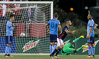 Foxborough, Massachusetts - October 15, 2017: In a Major League Soccer (MLS) match, New England Revolution (blue/white) defeated New York City FC (light blue/blue), 2-1, at Gillette Stadium.<br /> Goal celebration.