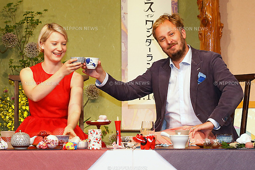 """(L-R) Actress Mia Wasikowska and director James Bobin attend the press conference for the film """"Alice Through the Looking Glass"""" in Tokyo, Japan on June 20, 2016. (Photo by Sho Tamura/AFLO)"""