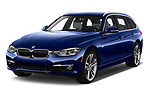 2017 BMW 3 Series Touring 330i xDrive 5 Door Wagon angular front stock photos of front three quarter view