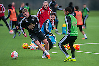 Wednesday  06 January 2016<br /> Pictured L-R: Adam King, Josh Sheehan and Wayne Routledge of Swansea in action during training<br /> Re: Swansea City Training session at the Fairwood training ground, Swansea, Wales, UK