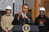 United States President Barack Obama speaks about creating new energy jobs during a visit to the jobs training center at the International Brotherhood of Electrical Workers Local 26 headquarters on Tuesday, February 16, 2010 in Lanham, Maryland. President Obama announced loan guarantees to expand an existing nuclear facility near Augusta, Georgia that will help create over 3,500 construction jobs and 850 permanent operations jobs, and will help provide power to over 550,000 homes and 1.4 million people. .Credit: Mark Wilson - Pool via CNP