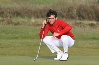 Harry Goddard (Hanbury Manor) on the 17th green during Round 4 of the Lytham Trophy 2019, held at Royal Lytham & St. Anne's, Lytham, Lancashire, England. 05/05/19<br /> <br /> Picture: Thos Caffrey / Golffile<br /> <br /> All photos usage must carry mandatory copyright credit (© Golffile | Thos Caffrey)