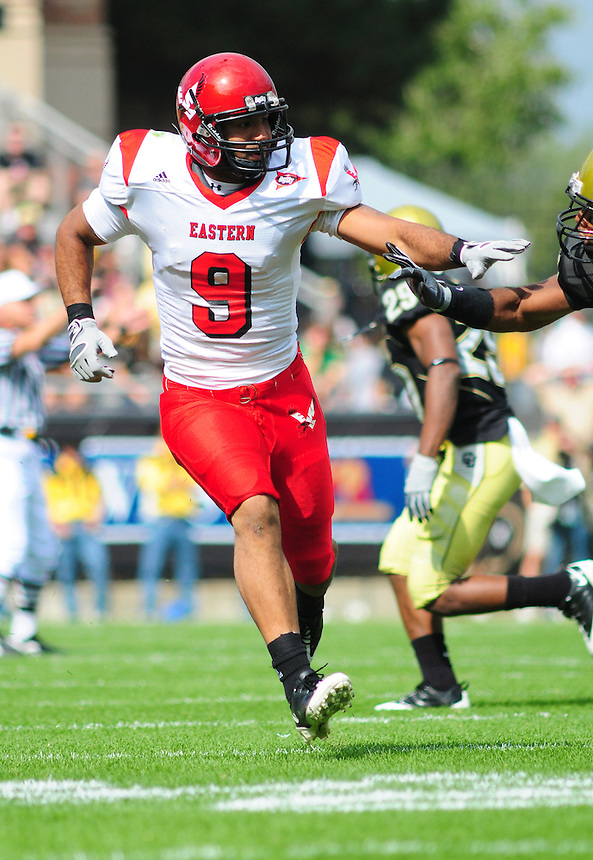 06 September 08: Eastern Washington wider receiver Aaron Boyce (9) runs a pattern against Colorado. The Colorado Buffaloes defeated the Eastern Washington Eagles 31-24 at Folsom Field in Boulder, Colorado. FOR EDITORIAL USE ONLY