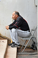 Birmingham Barons manager Omar Vizquel (13) observes the game during a game against the Tennessee Smokies at Smokies Stadium on May 15, 2019 in Kodak, Tennessee. The Smokies defeated the Barons 7-3. (Tony Farlow/Four Seam Images)