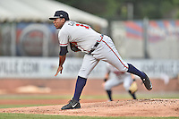 Rome Braves starting pitcher Oriel Caicedo (19) delivers a pitch during a game against the Asheville Tourists on July 25, 2015 in Asheville, North Carolina. The Braves defeated the Tourists 3-2. (Tony Farlow/Four Seam Images)