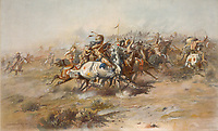 The Custer Fight at The Battle of the Little Bighorn, showing Native Americans on horseback in foreground, painting, 1903, by<br /> Charles Marion Russell, 1864-1926, in the Anasazi Heritage Center, an archaeological museum of Native American pueblo and hunter-gatherer cultures, Dolores, Colorado, USA. The battle was between the Lakota, Northern Cheyenne and Arapaho tribes and the 7th Cavalry Regiment of the US Army and took place on 25th and 16th June 1876, near the Little Bighorn River, during the Great Sioux War of 1876. The US army suffered a major defeat. Picture by Manuel Cohen