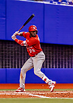 26 March 2018: St. Louis Cardinals outfielder Randy Arozarena in action during an exhibition game against the Toronto Blue Jays at Olympic Stadium in Montreal, Quebec, Canada. The Cardinals defeated the Blue Jays 5-3 in the first of two MLB pre-season games in the former home of the Montreal Expos. Mandatory Credit: Ed Wolfstein Photo *** RAW (NEF) Image File Available ***