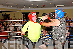 """Rumlble in Listowel : Dominick Moloney lands a left on the face of Pat Hannon in the third last fight at  the """" Rumble in Listowel """"charity fund raising event in the Listowel Arms Hotel on Friday night last."""