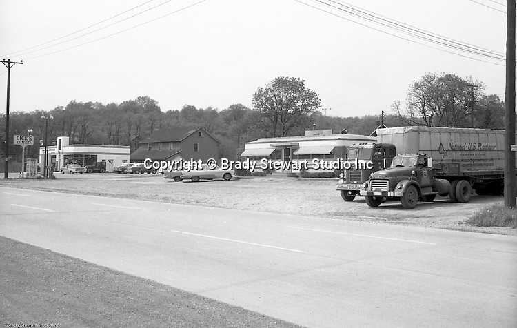 Murrysville PA:  View of an accident scene on Route 22 in Murrysville near Dick's Diner - 1958.  Photos were taken for the Pittsburgh law firm of Reed, Smith, Shaw and McClay.  Brady Stewart Studio worked with a number of local and out-of-town attorney's to photograph the scene, make prints and mount then for court exhibits