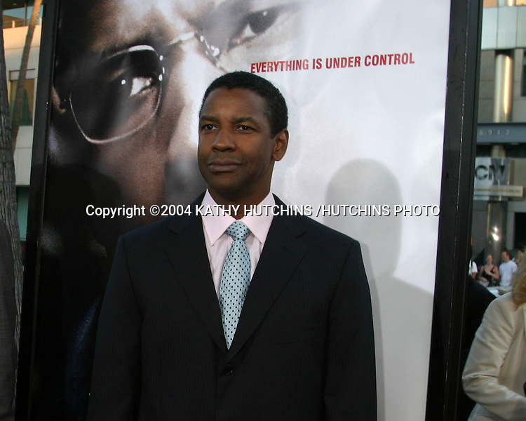 "©2004 KATHY HUTCHINS /HUTCHINS PHOTO.PREMIERE OF ""MANCHURIAN CANDIDATE"".BEVERLY HILLS, CA.JULY 21, 2004..DENZEL WASHINGTON"