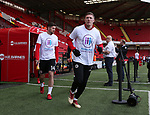 John Lundstram of Sheffield Utd  wear Weston Park Charity t-shirts during the championship match at the Bramall Lane Stadium, Sheffield. Picture date 14th April 2018. Picture credit should read: Simon Bellis/Sportimage