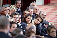 Jean-Marc Ayrault et son gouvernement assistent à la deuxième grande conférence de presse de François Hollande, président de la République, au Palais de l'Elysée à Paris, jeudi 16 mai 2013 - 2013©Jean-Claude Coutausse / french-politics pour Le Monde