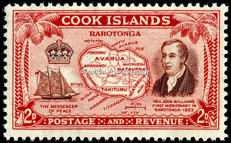 BNPS.co.uk (01202)558833Pic: BNPS<br /> <br /> A cook island stamp with John Williams fearured on it - 'John Williams, the first missionary in Rarotonga - 1823.<br /> <br /> A tribal war club brought back to Britain by an English missionary who was later killed and eaten by cannibals on a South Pacific island has been put up for sale by his family.<br /> <br /> In the early 19th century the missionary John Williams and his wife Mary travelled to the Polynesian Islands to spread the word of God and teach natives how to read and write.<br />  <br /> Their first expedition was a success and among many souvenirs the couple returned with was the 17ins long throwing club.<br /> <br /> Williams returned to the South Pacific in 1838 but was clubbed to death, cooked and eaten by the locals of Erromango after wading ashore there with his Bible.