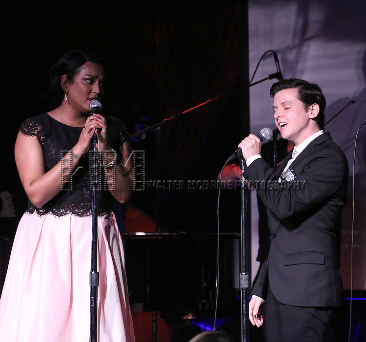 Aneesh Sheth and Jax Jackson performing at The Lilly Awards Broadway Cabaret at the Cutting Room on October 17, 2016 in New York City.